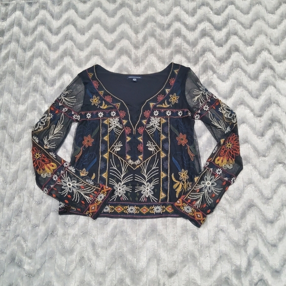 American Eagle Sheer Black Embroidered Top Sz S